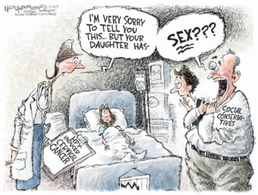 Anti-sex, Anti-marriage and anti-women. (Cartoonist - Nick Anderson, Publication - Houston's Chronicle).